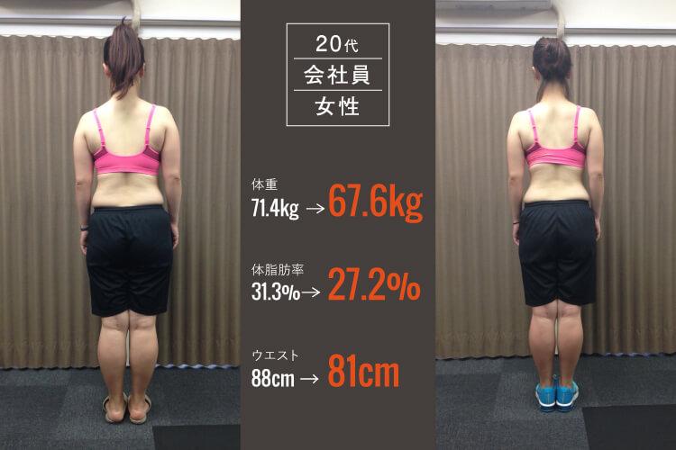 20代会社員女性のパーソナルトレーニングビフォーアフター写真3_大阪長堀橋のパーソナルトレーニングジム