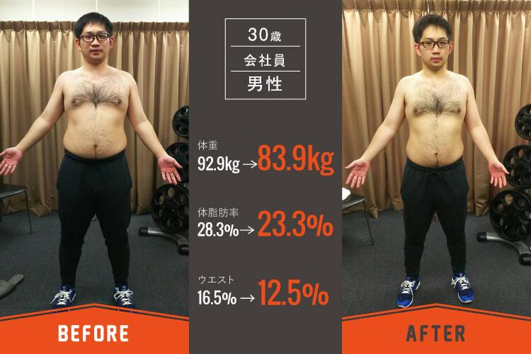 30歳会社員男性のパーソナルトレーニングビフォーアフター写真1_大阪長堀橋のパーソナルトレーニングジム