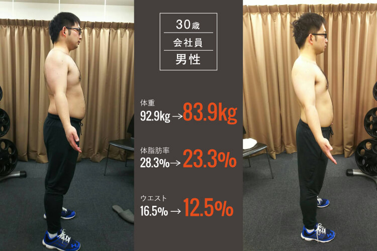 30歳会社員男性のパーソナルトレーニングビフォーアフター写真2_大阪長堀橋のパーソナルトレーニングジム